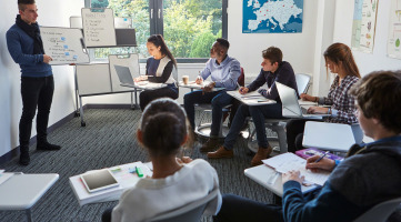Steelcase classroom furniture including Node Tablet Arm Seating