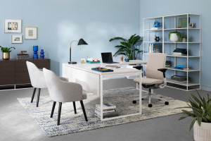 private office featuring white West Elm Greenpoint office furniture