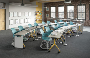 steelcase verb flip top talbes with yellow accent paint on legs. Also shown, steelcase node tripod base seating