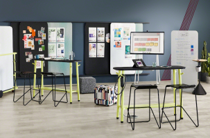 steelcase flex collection- feature mobile bar height tables and marker boards