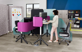 steelcase flex collection height adjustable tables with privacy screens