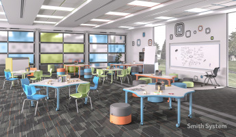 k-12 education classroom featuring smith system tables and chairs